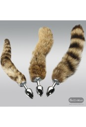 Fox Tail Brown Plated Metal Anal Plugs AD-020